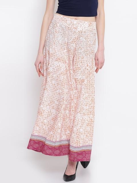 AURELIA Women Peach-Coloured & Off-White Printed Flared Palazzos