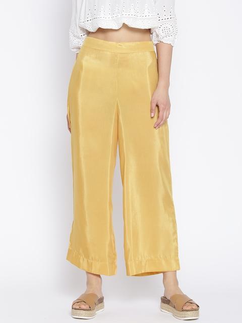 AURELIA Women Mustard Yellow Cropped Straight Palazzos