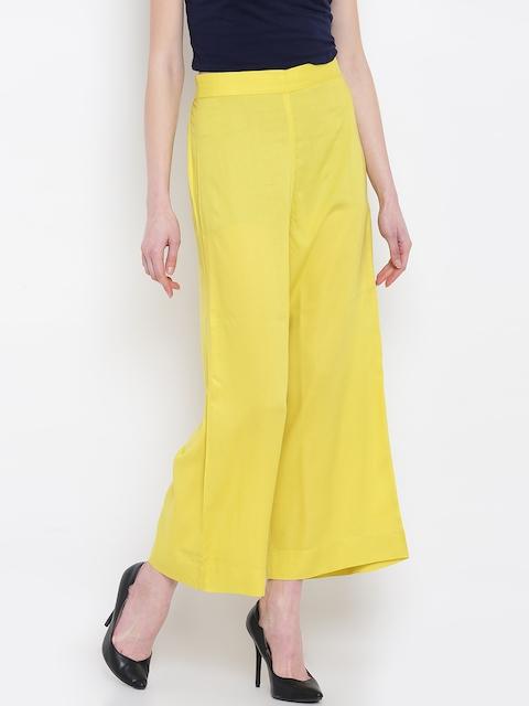 AURELIA Women Lime Green Wide Leg Solid Palazzos