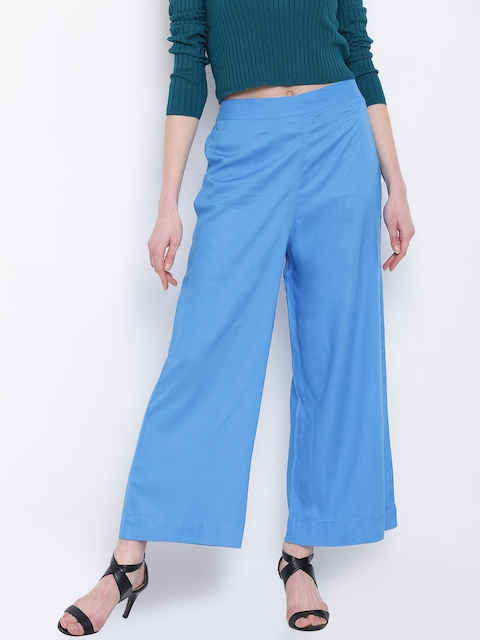 AURELIA Women Blue Solid Wide Leg Palazzos