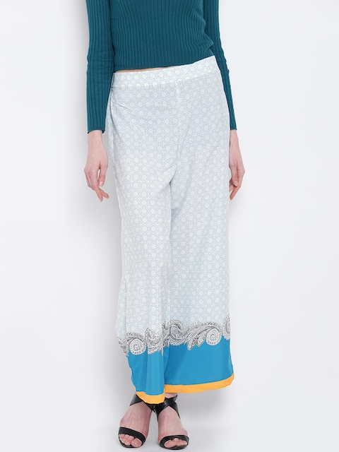 AURELIA Women White & Blue Wide Leg Printed Palazzos