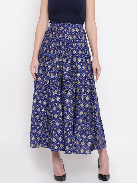 AURELIA Navy & Golden Printed Maxi Flared Skirt
