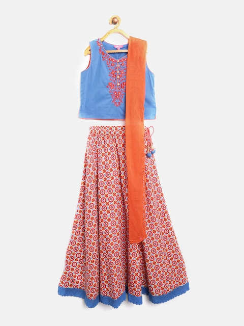Biba Girls Coral & Blue Embroidered Ready to Wear Lehenga & Blouse with Dupatta