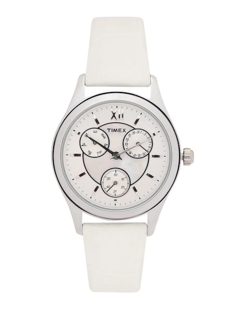 Timex Women Silver-Toned & Off-White Analogue Watch TW000W209 TW000W209