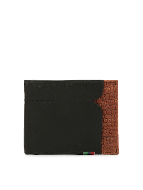 Peter England Men Black Solid Genuine Leather Two Fold Wallet