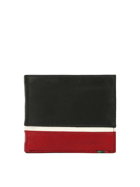 Peter England Statements Men Black & Red Colourblocked Two Fold Wallet