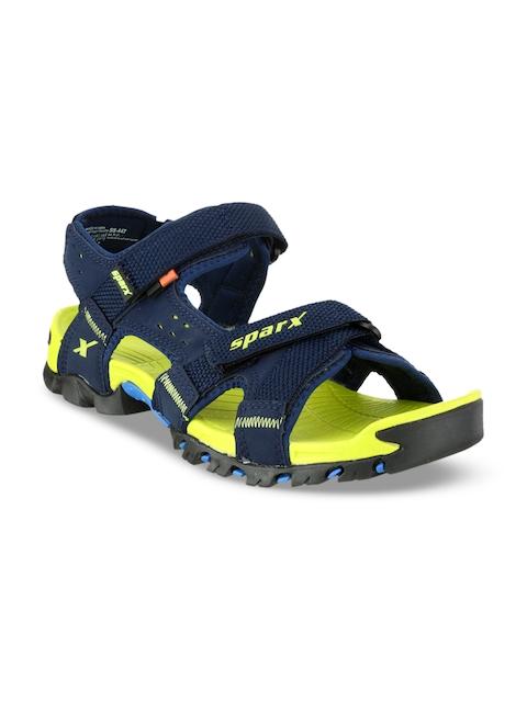 Sparx Men Navy Blue & Green Comfort Sandals