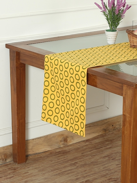 "RANGRAGE Yellow & Green 71"" x 13.5"" Fine Cotton Printed Table Runner"