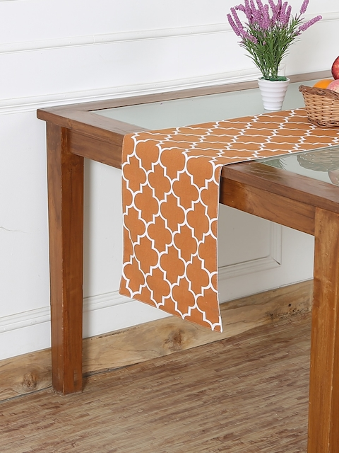 "RANGRAGE Rust 71"" x 13.5"" Fine Cotton Printed Table Runner"