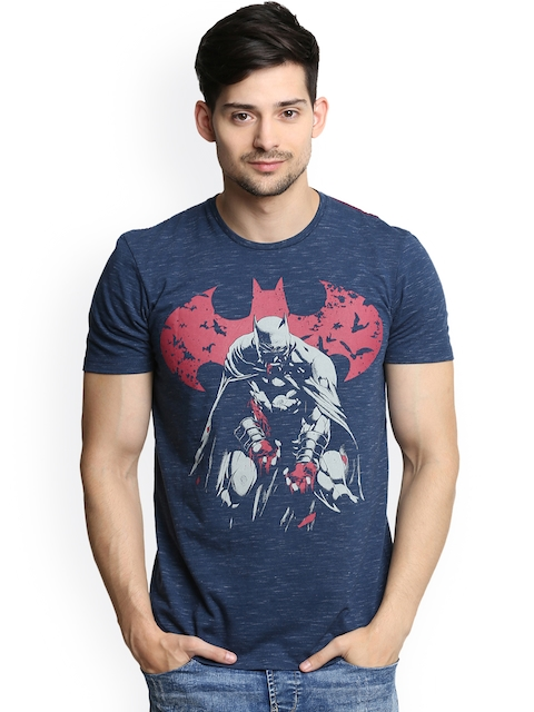 Batman Men Blue Printed Round Neck T-shirt