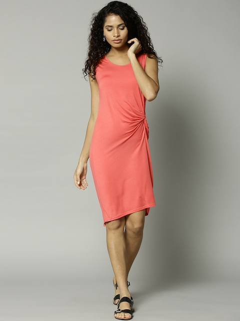 Marks & Spencer Women Coral Pink Solid Cover-Up Dress 6572