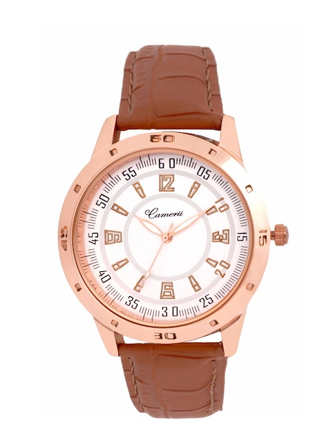 Camerii Men White & Gold-Toned Analogue Watch