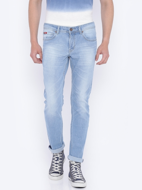 Lee Cooper Men Blue Norris Regular Fit Mid-Rise Clean Look Stretchable Jeans