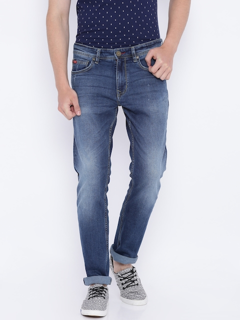 Lee Cooper Men Blue Regular Fit Mid-Rise Low Distress Stretchable Jeans