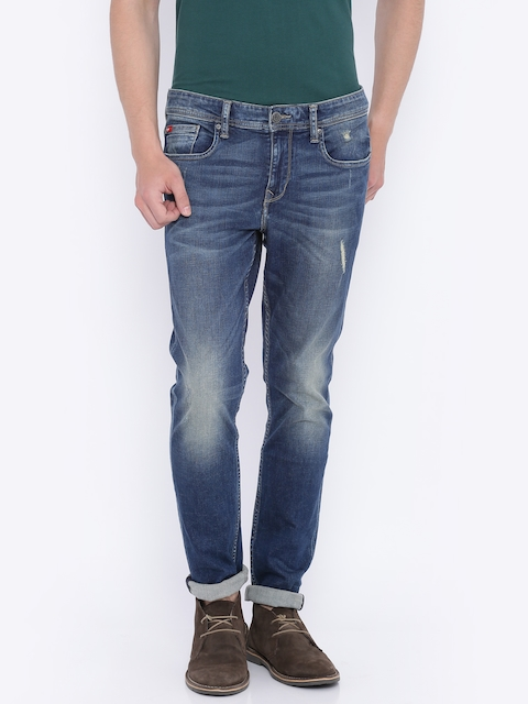 Lee Cooper Men Blue Reuben Skinny Fit Low-Rise Low Distress Stretchable Jeans