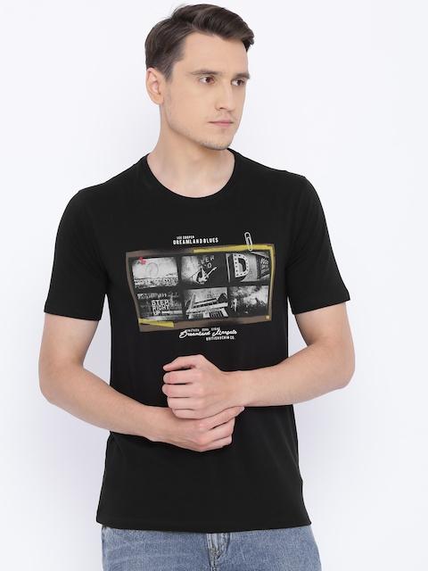 Lee Cooper Men Black Printed Round Neck T-shirt