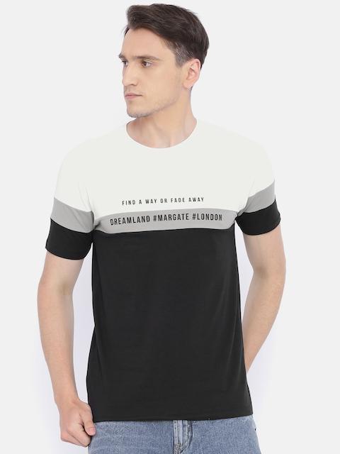Lee Cooper Men White & Black Solid Round Neck T-shirt