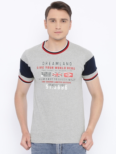Lee Cooper Men Grey Printed Round Neck T-shirt
