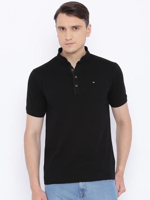 Lee Cooper Men Black Solid Mandarin Collar T-shirt