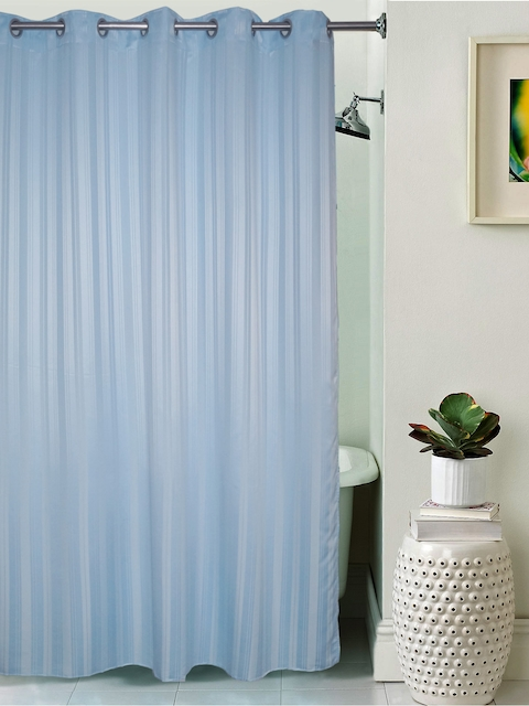 Lushomes Unidyed Sky Blue Polyester Shower Curtain