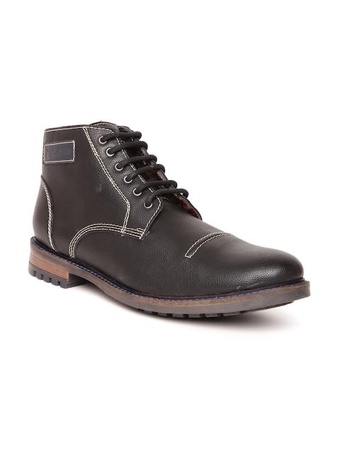 Duke Men Black Mid-Top Flat Boots