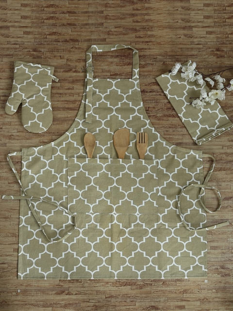 737afbfad1a 40%off RANGRAGE Set of 3 Beige Cotton Hand-Stitched Printed Kitchen Linen  Set
