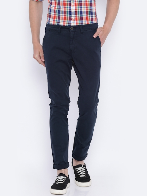 Pepe Jeans Men Navy Blue Slim Fit Solid Chinos