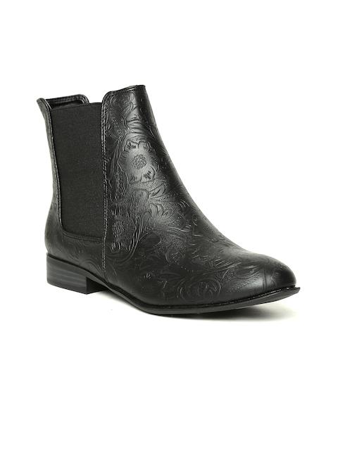 Allen Solly Women Black Textured Flat Boots