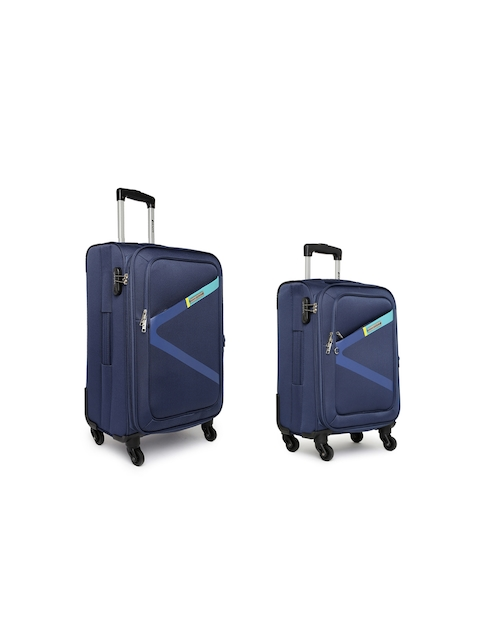 Safari Unisex Set of 2 Navy Greater Trolley Bags in Small & Medium Sizes