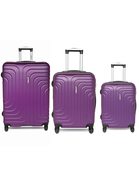 Pronto Unisex Set of 3 Purple Cyprus Trolley Suitcases in Cabin, Medium & Large Size