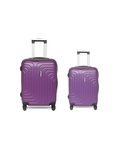 Pronto Unisex Set of 2 Purple CYPRUS Spinner Trolley Suitcases in Cabin & Medium Size