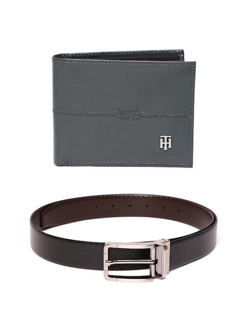 Tommy Hilfiger Men Leather Wallet & Textured Reversible Belt