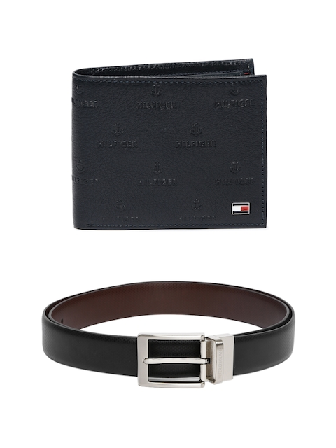 Tommy Hilfiger Men Self-Design Leather Wallet & Textured Reversible Belt