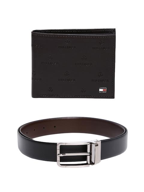 Tommy Hilfiger Men Self-Design Leather Wallet & Reversible Belt