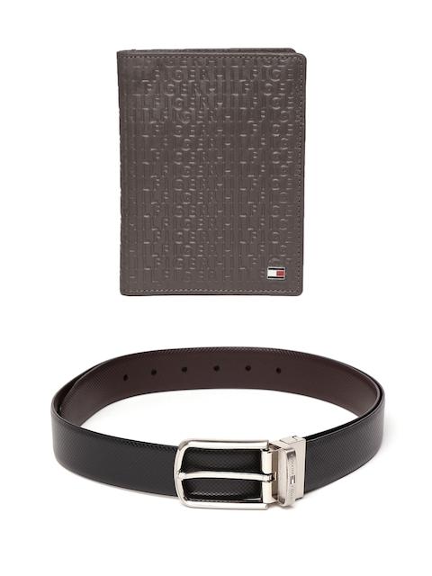 Tommy Hilfiger Men Textured Leather Wallet & Reversible Belt