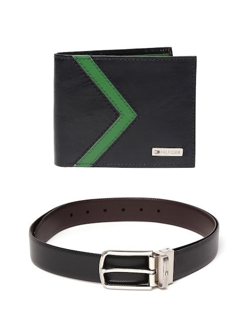 Tommy Hilfiger Men Colourblocked Leather Wallet & Textured Reversible Belt