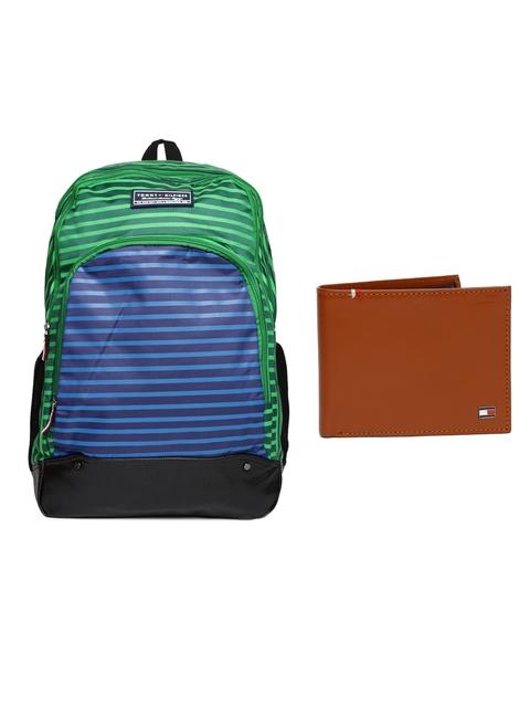 Tommy Hilfiger Men Genuine Leather Wallet & Unisex Striped Backpack