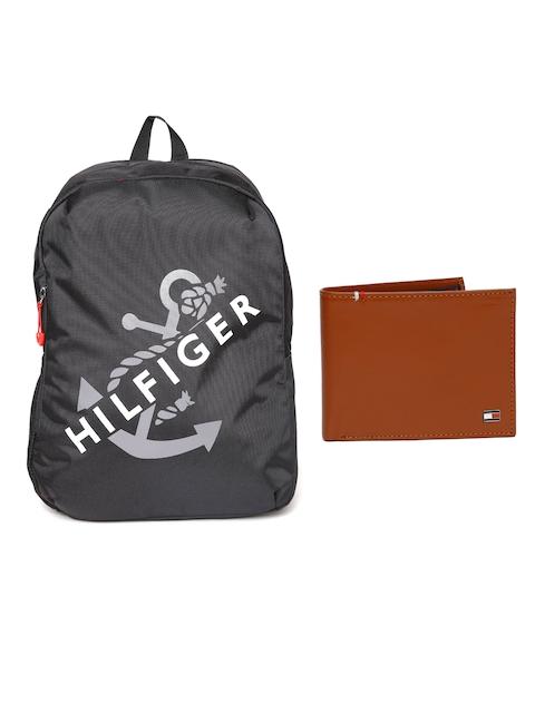 Tommy Hilfiger Men Genuine Leather Wallet & Unisex Solid Backpack
