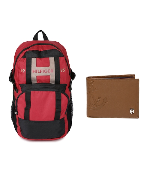 Tommy Hilfiger Men Genuine Leather Wallet & Unisex Solid Backpack