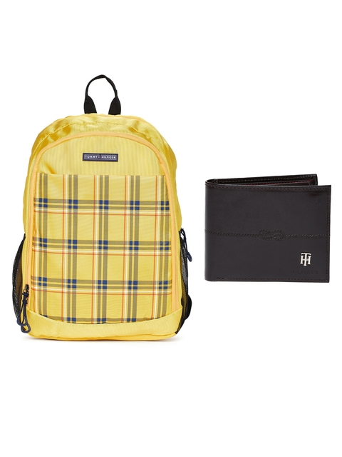 Tommy Hilfiger Men Genuine Leather Wallet & Unisex Checked Backpack