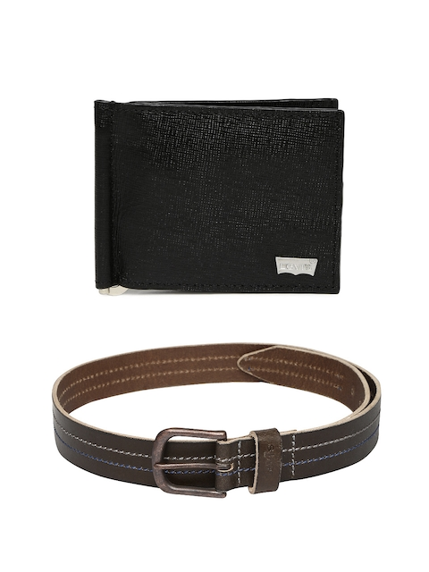 Levis Men Leather Money Clip & Belt