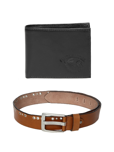 Flying Machine Men Leather Wallet & Belt