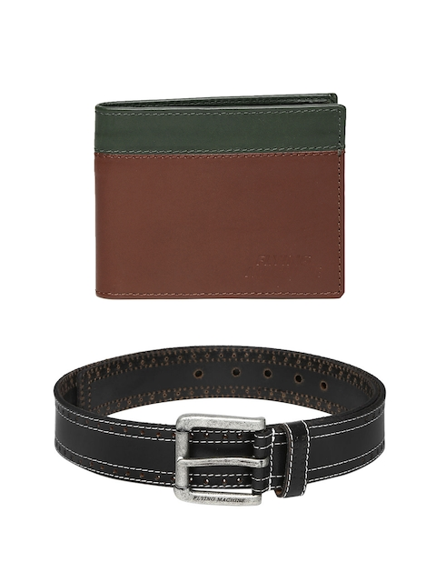 Flying Machine Men Leather Belt & Wallet