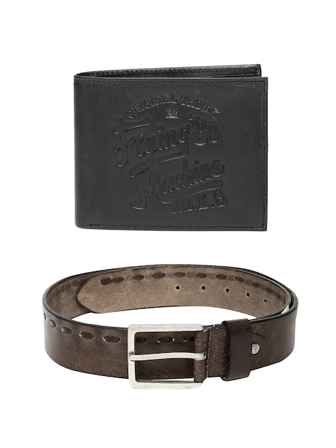 Flying Machine Men Leather Belt & Wallet