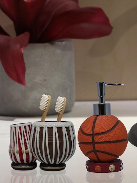 Shresmo Set of 2 Orange & Brown Textured Bathroom Accessories