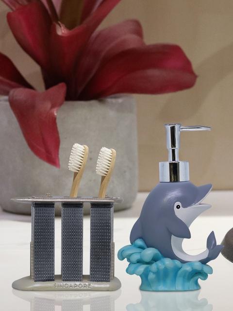 Shresmo Set of 2 Grey & Blue Bathroom Accessories