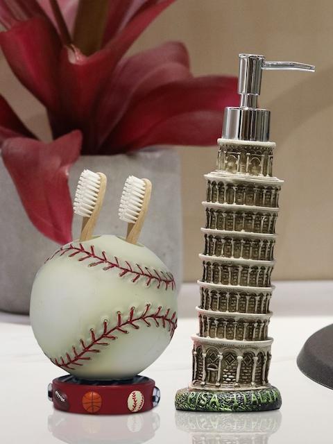 Shresmo Set of 2 Off-White & Beige Textured Bathroom Accessories