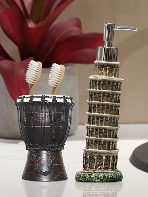 Shresmo Set of 2 Beige & Brown Textured Bathroom Accessories