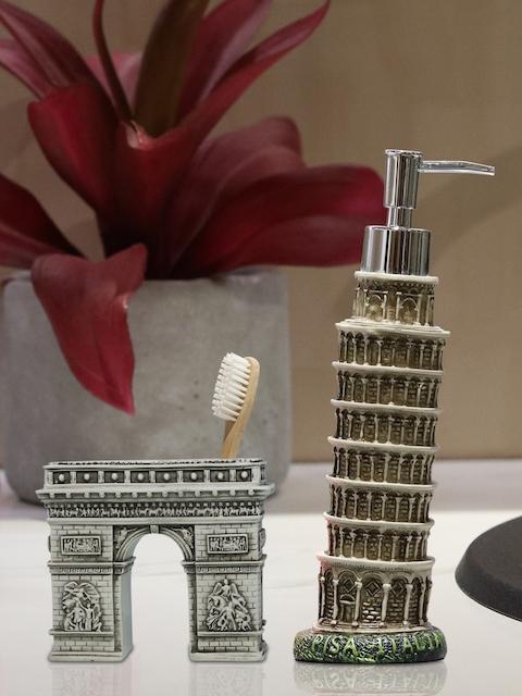 Shresmo Set of 2 Beige & Off-White Textured Bathroom Accessories