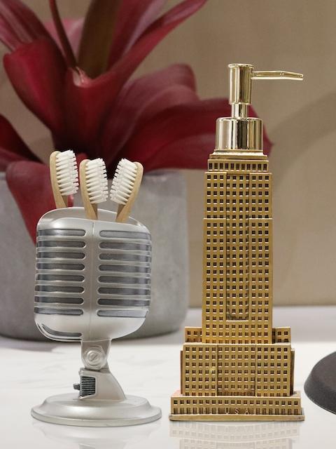 Shresmo Set of 2 Gold-Toned & Grey Textured Bathroom Accessories